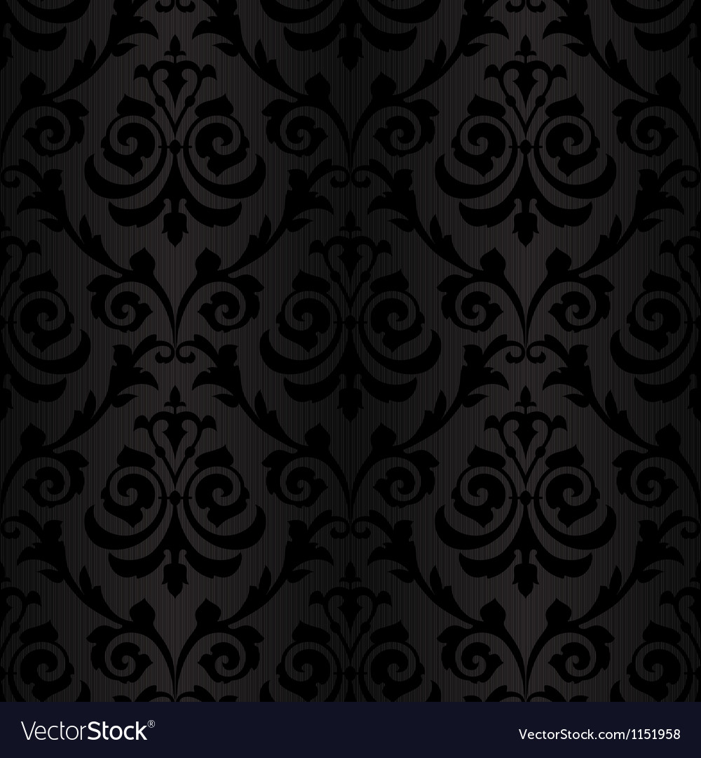 Seamless black silk wallpaper pattern vector | Price: 1 Credit (USD $1)