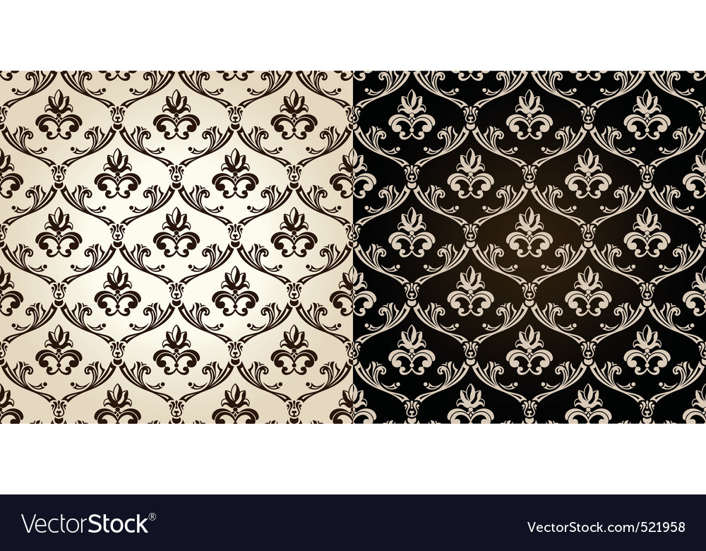 Seamless vintage backgrounds black brown baroque p vector | Price: 1 Credit (USD $1)