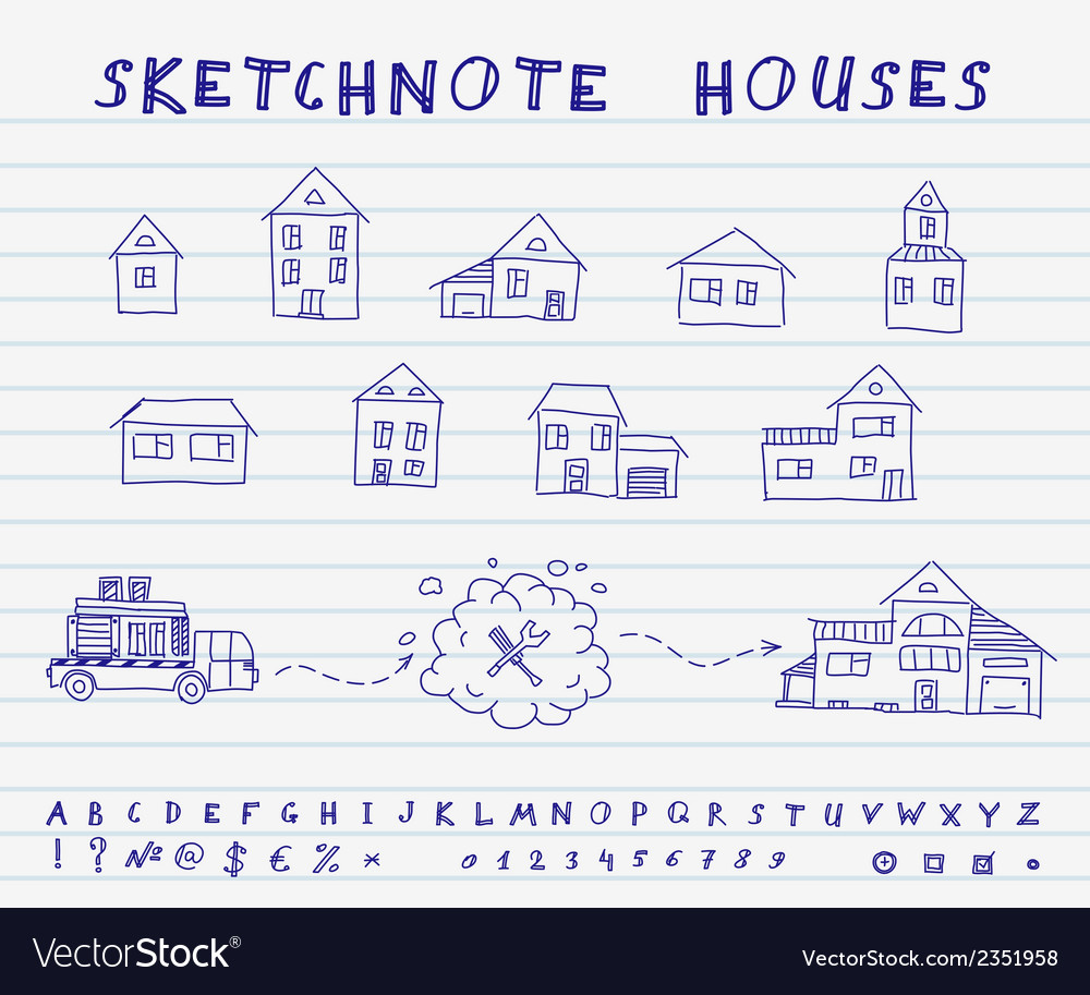 Sketchnote houses vector | Price: 1 Credit (USD $1)