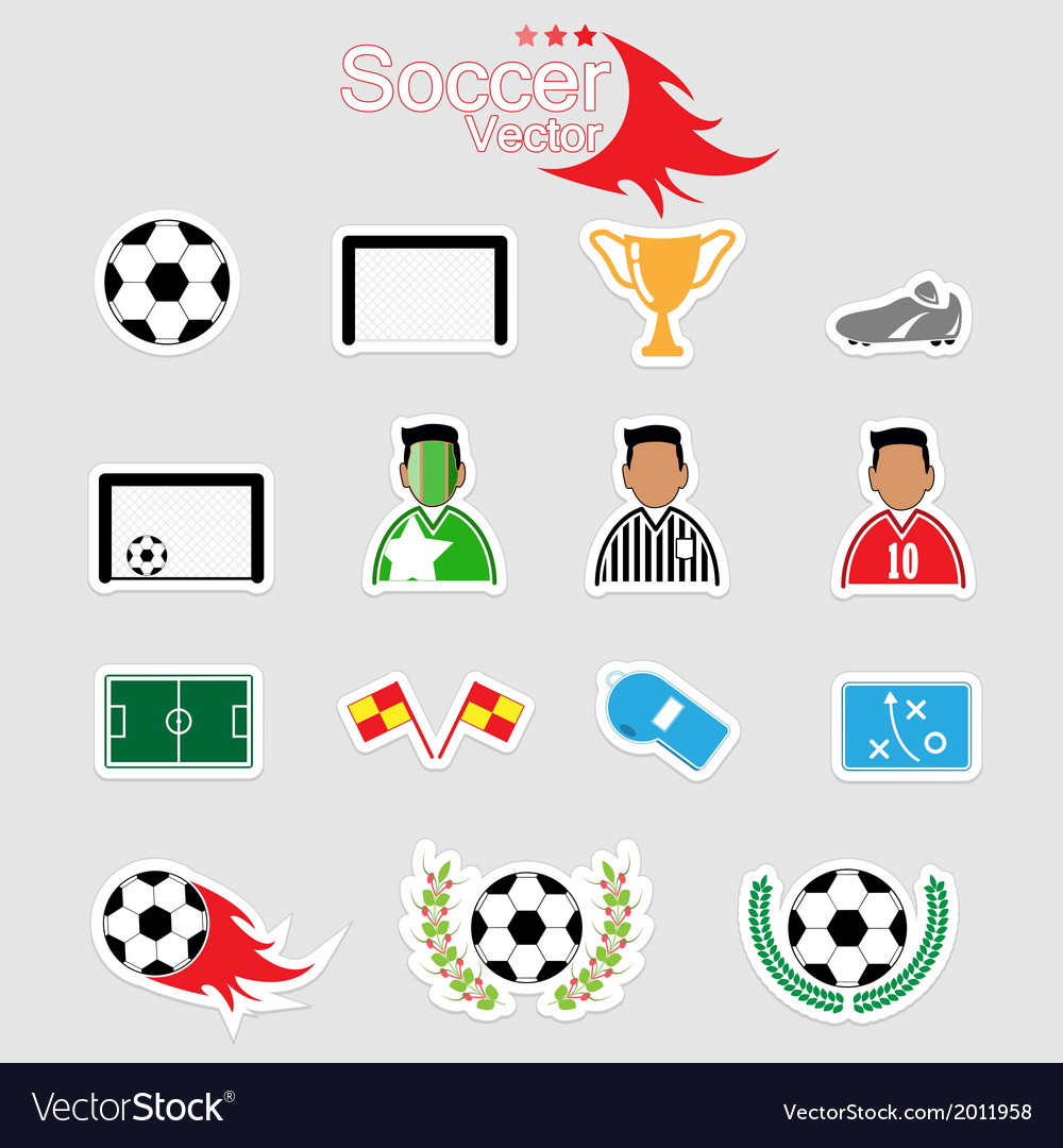 Soccer icons set color eps10 vector | Price: 1 Credit (USD $1)