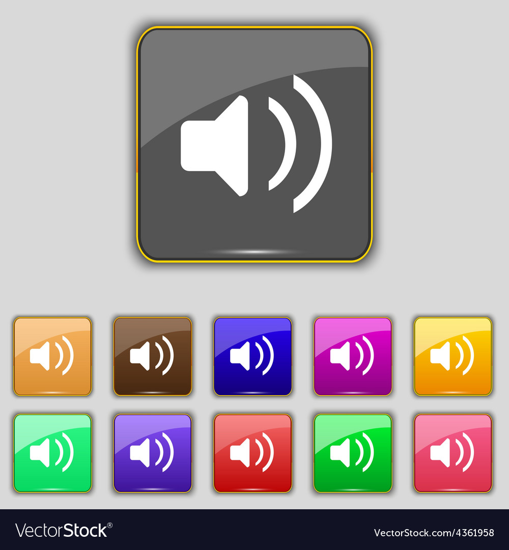 Speaker volume sound icon sign set with eleven vector | Price: 1 Credit (USD $1)