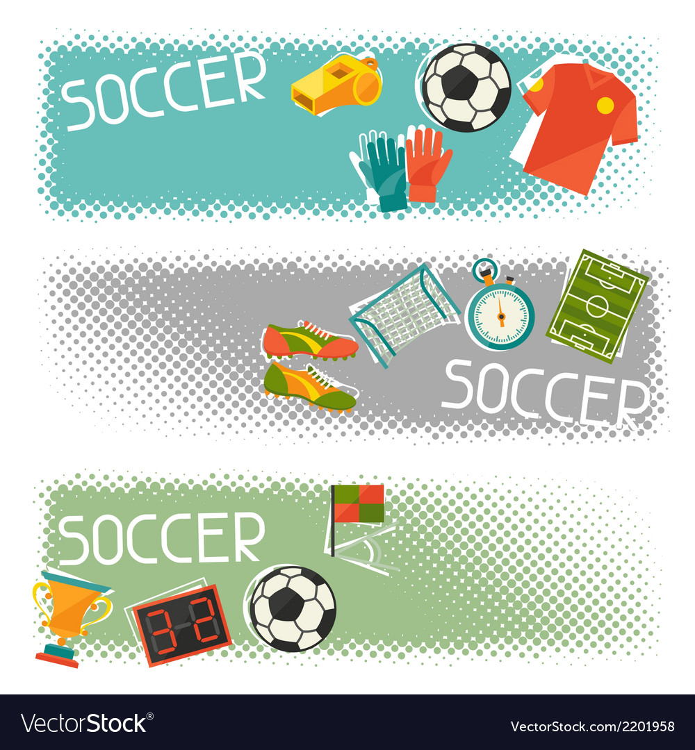 Sports horizontal banners with soccer football vector | Price: 1 Credit (USD $1)