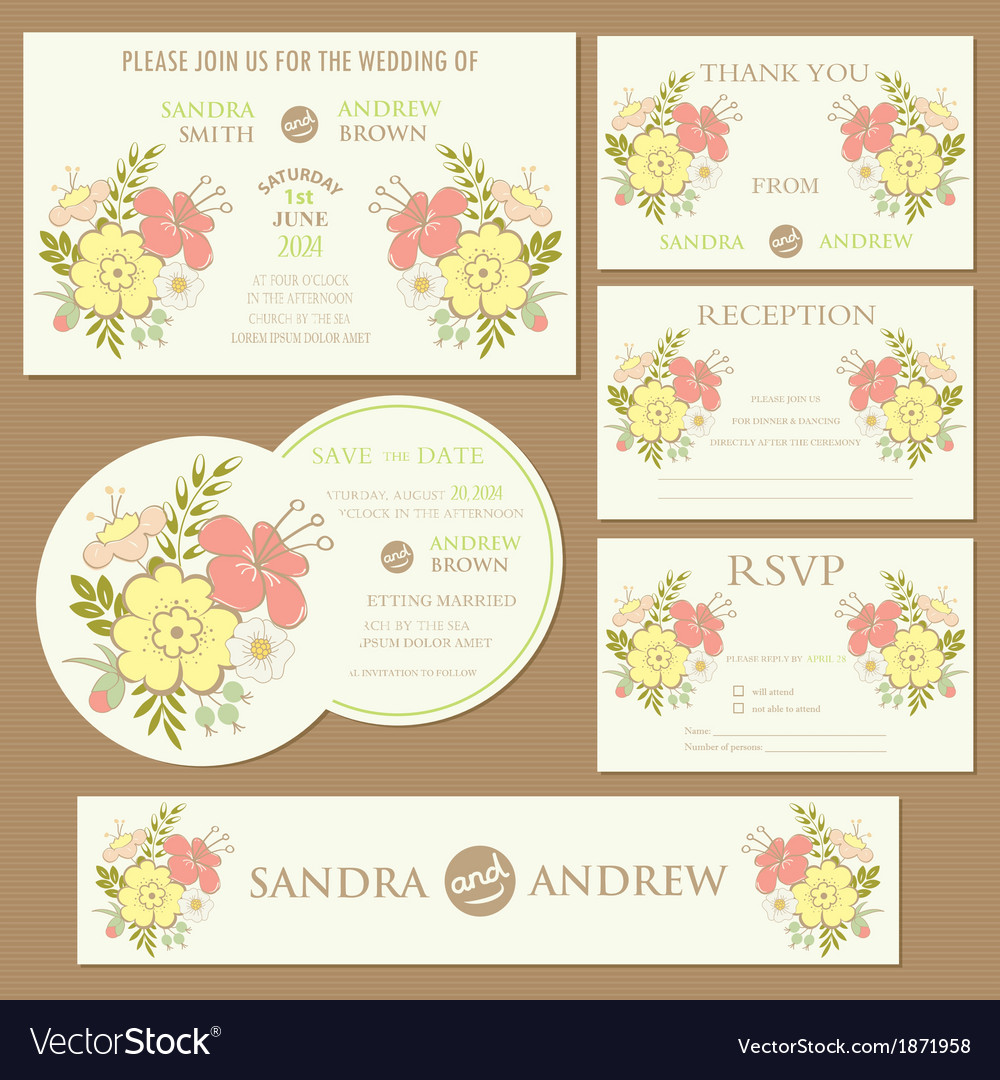 Spring wedding invitation cards set vector | Price: 1 Credit (USD $1)
