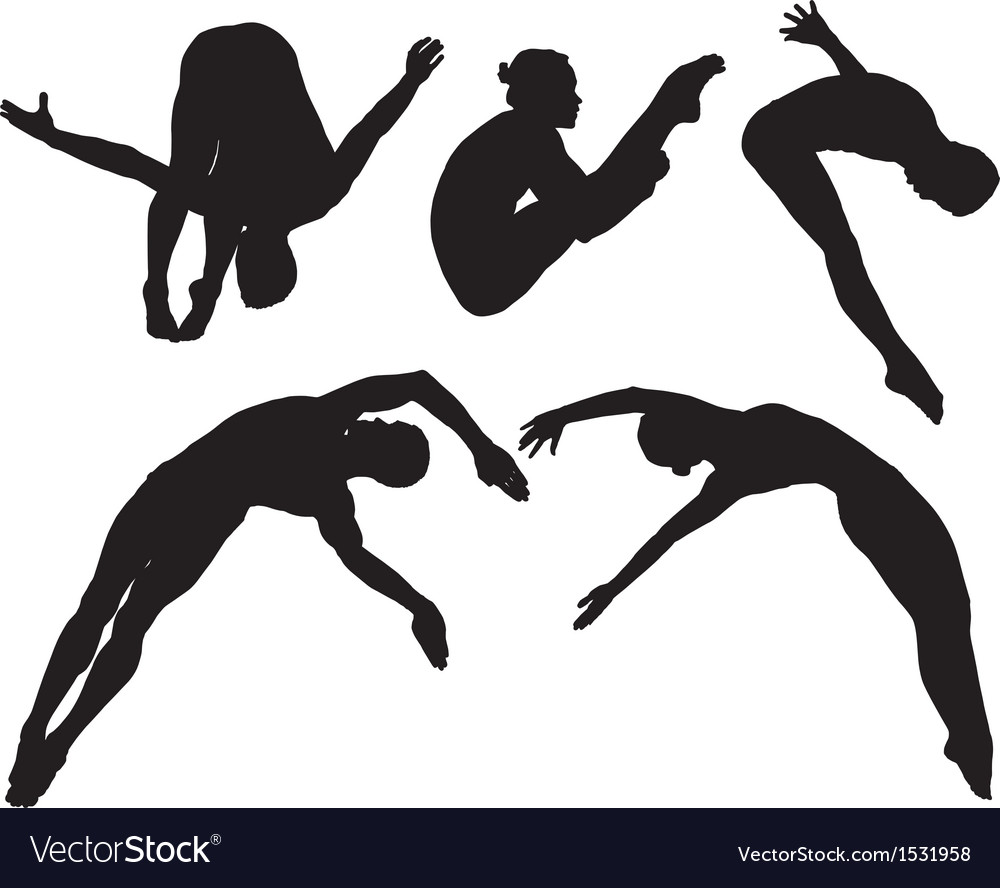 Springboard platform diving silhouette vector | Price: 1 Credit (USD $1)