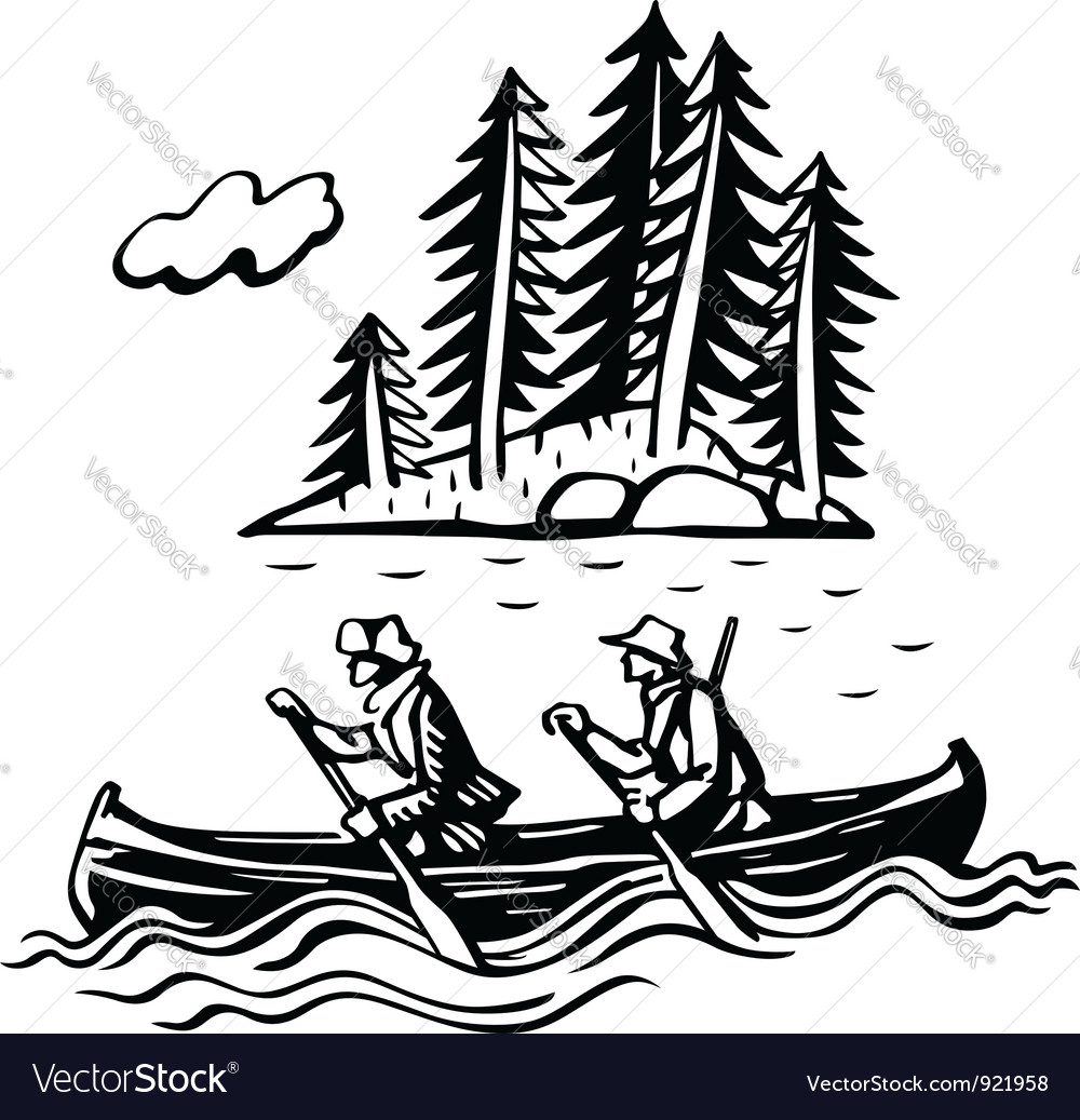 Two persons in the boat vector | Price: 1 Credit (USD $1)