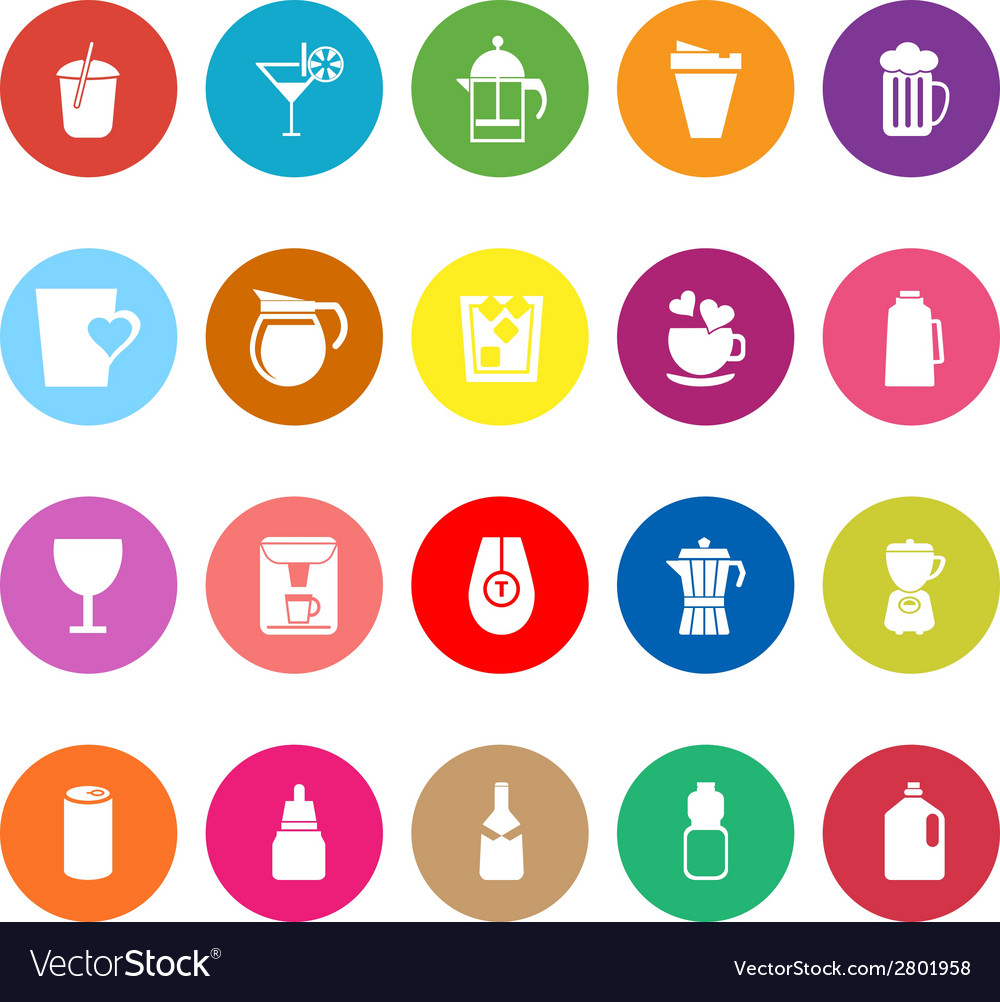 Variety drink flat icons on white background vector | Price: 1 Credit (USD $1)