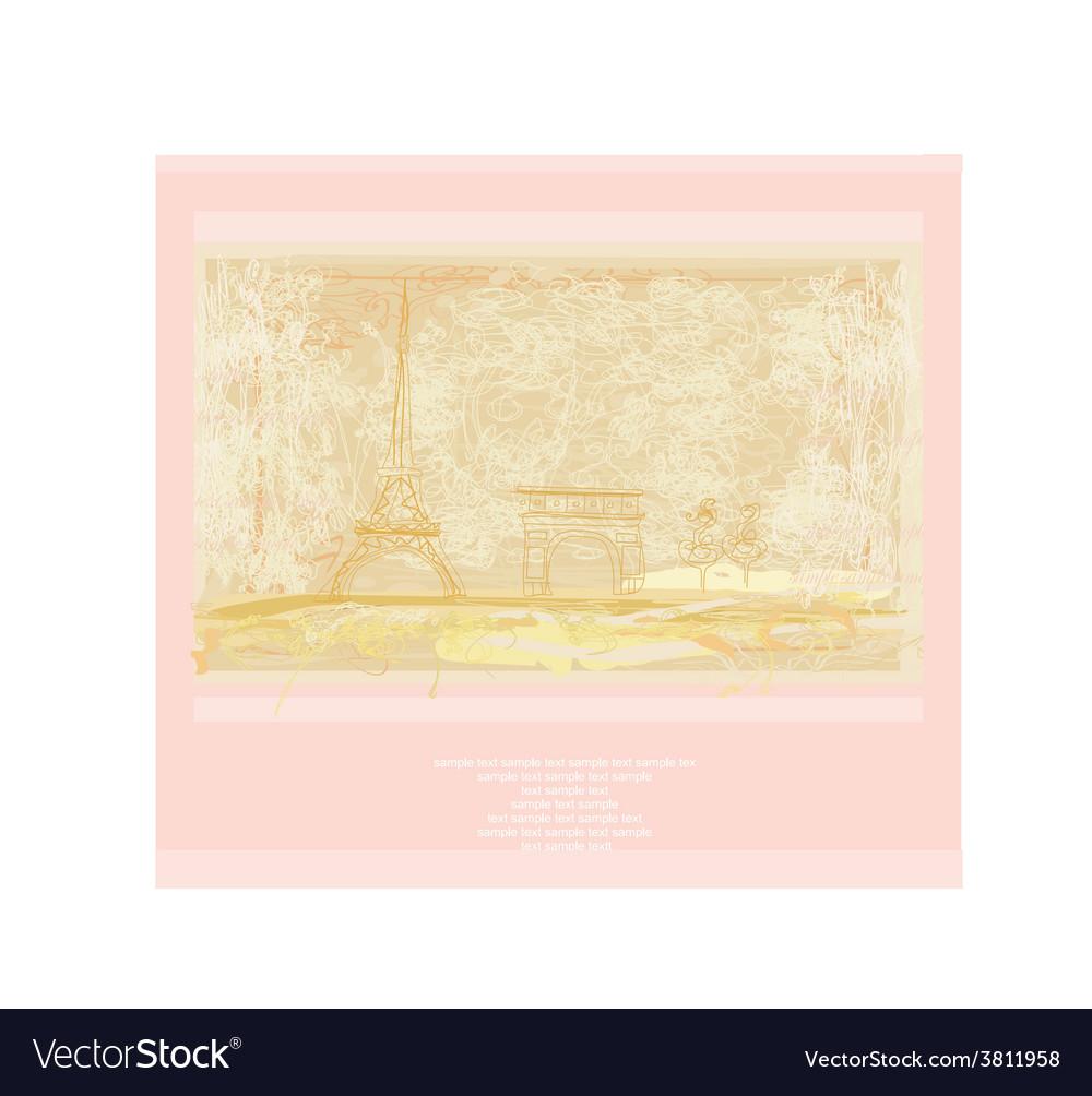 Vintage retro eiffel in paris card vector | Price: 1 Credit (USD $1)