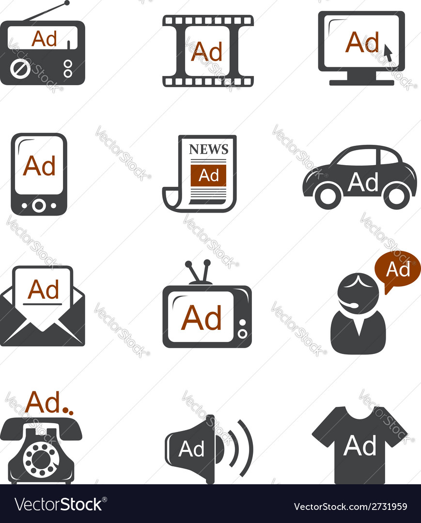 Advertisement icons vector | Price: 1 Credit (USD $1)