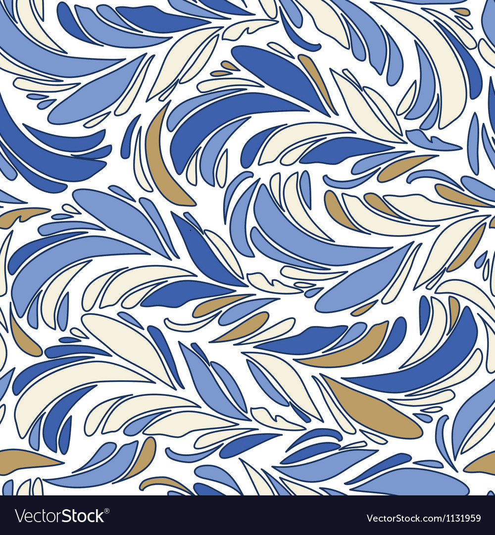 Blue seamless texture with feathers vector | Price: 1 Credit (USD $1)