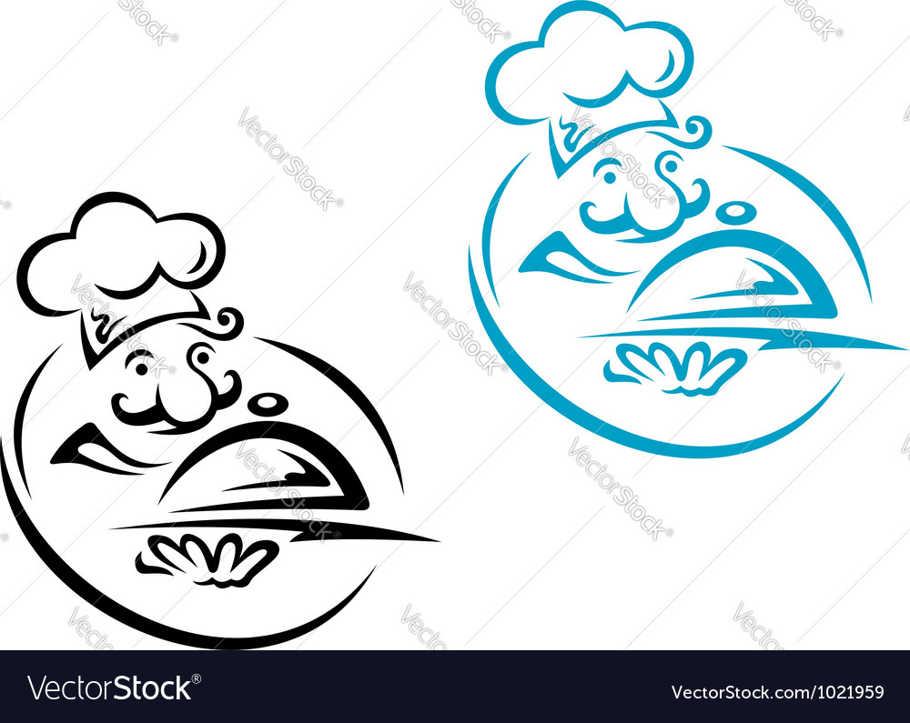 Chef with silver tray in cartoon style vector | Price: 1 Credit (USD $1)