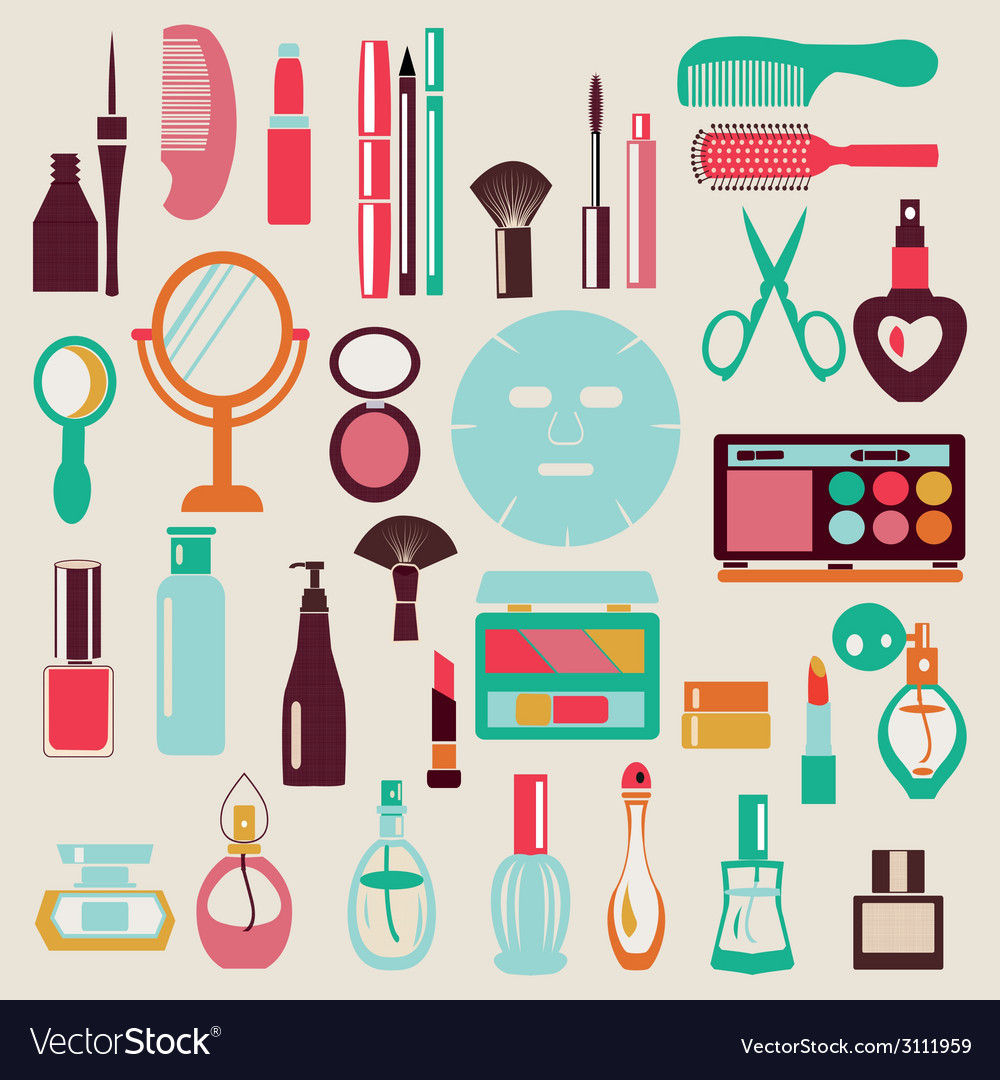 Cosmetic-elements-set vector | Price: 1 Credit (USD $1)