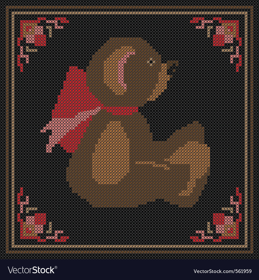 Embroidered bear vector | Price: 3 Credit (USD $3)