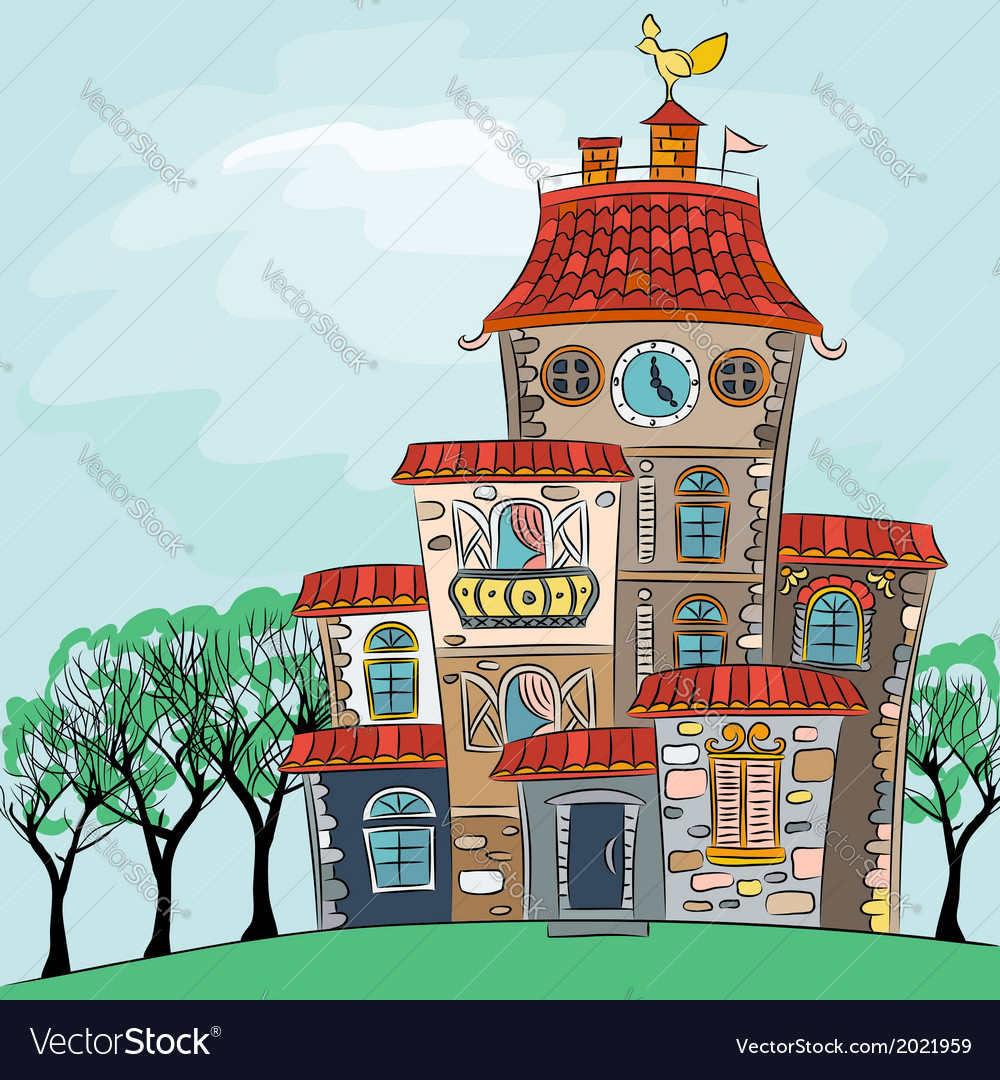 Fairytale cheerful multicolored multi-storey house vector | Price: 1 Credit (USD $1)