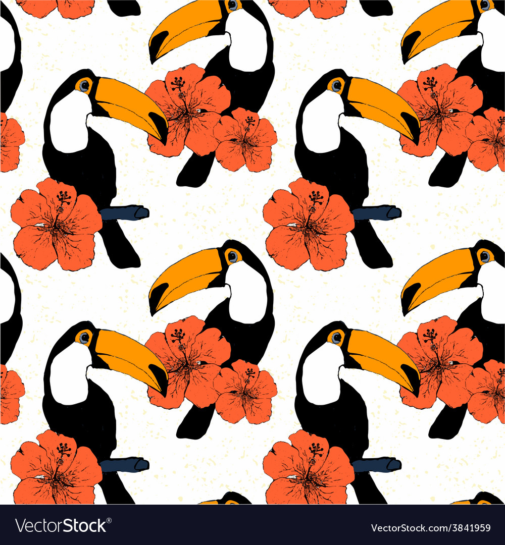Hand drawn seamless pattern with toucans in vector | Price: 1 Credit (USD $1)