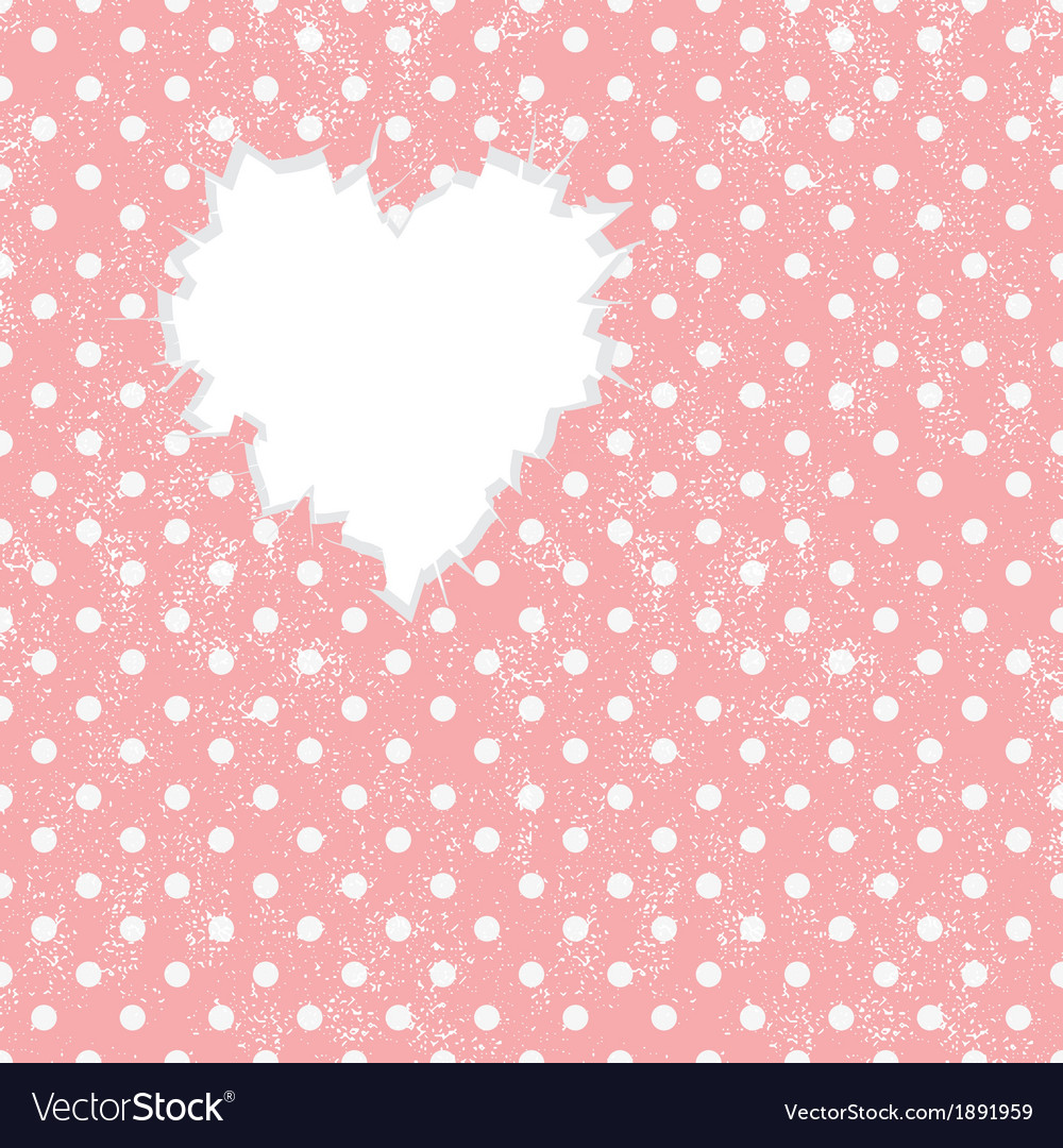 Hole in heart shape on polka dot background vector | Price: 1 Credit (USD $1)