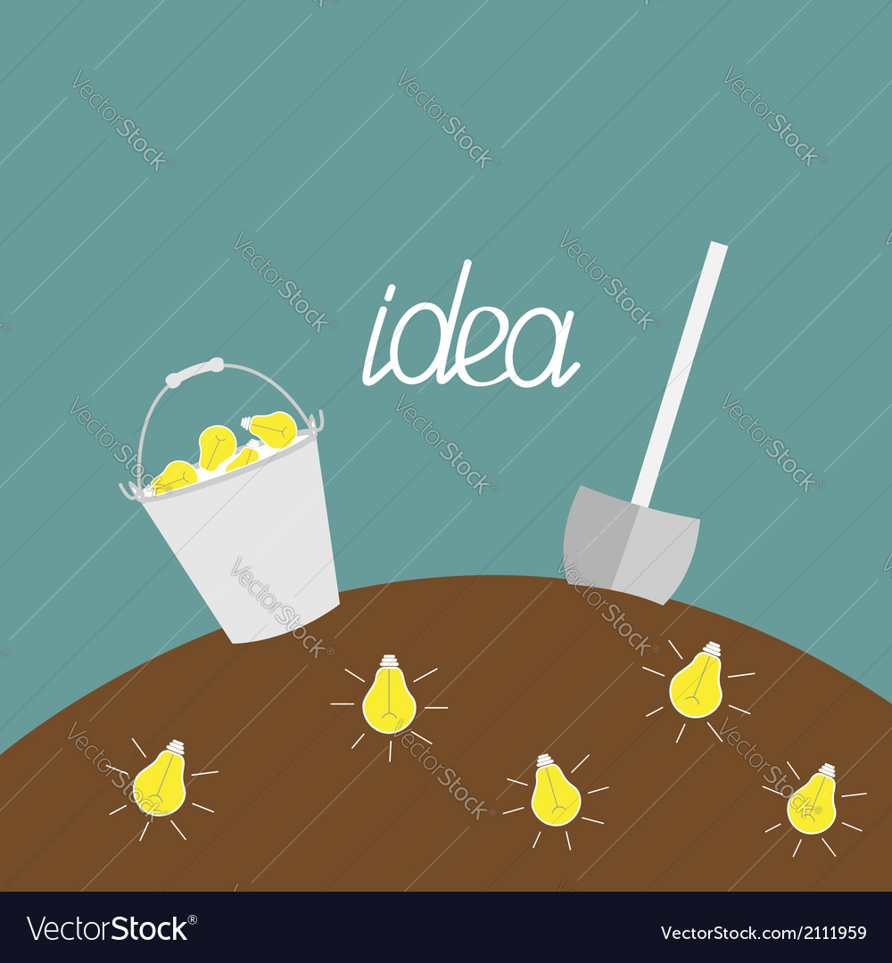 Lamp bulb underground shovel and bucket dig idea vector | Price: 1 Credit (USD $1)