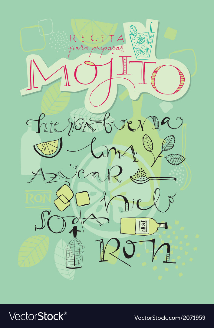 Mojito cocktail recipe vector | Price: 1 Credit (USD $1)