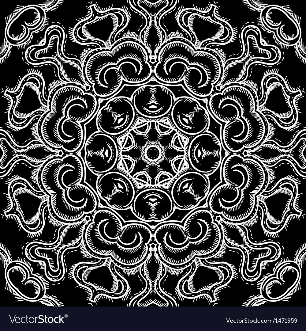 Monochrome vintage oriental circle background vector | Price: 1 Credit (USD $1)