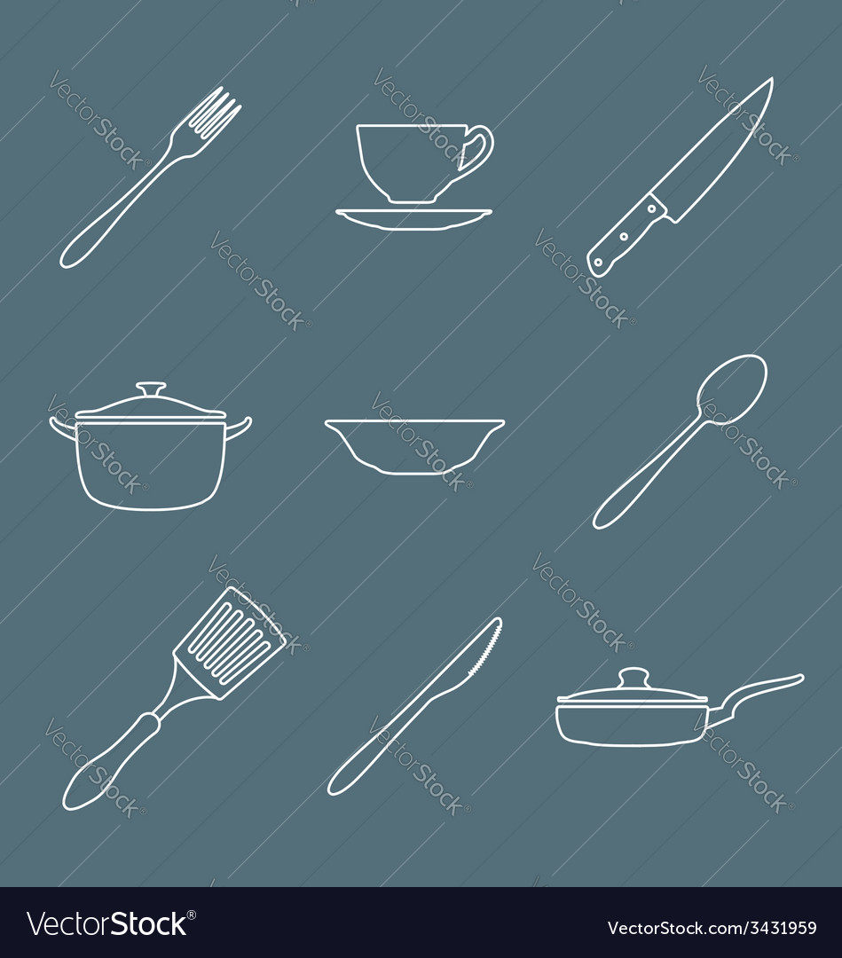 Outline dinnerwarwe icons set vector | Price: 1 Credit (USD $1)