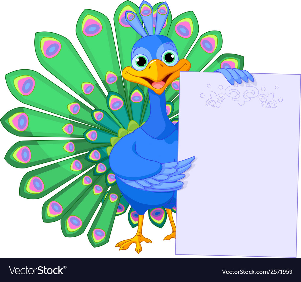 Peacock holding placard vector | Price: 1 Credit (USD $1)