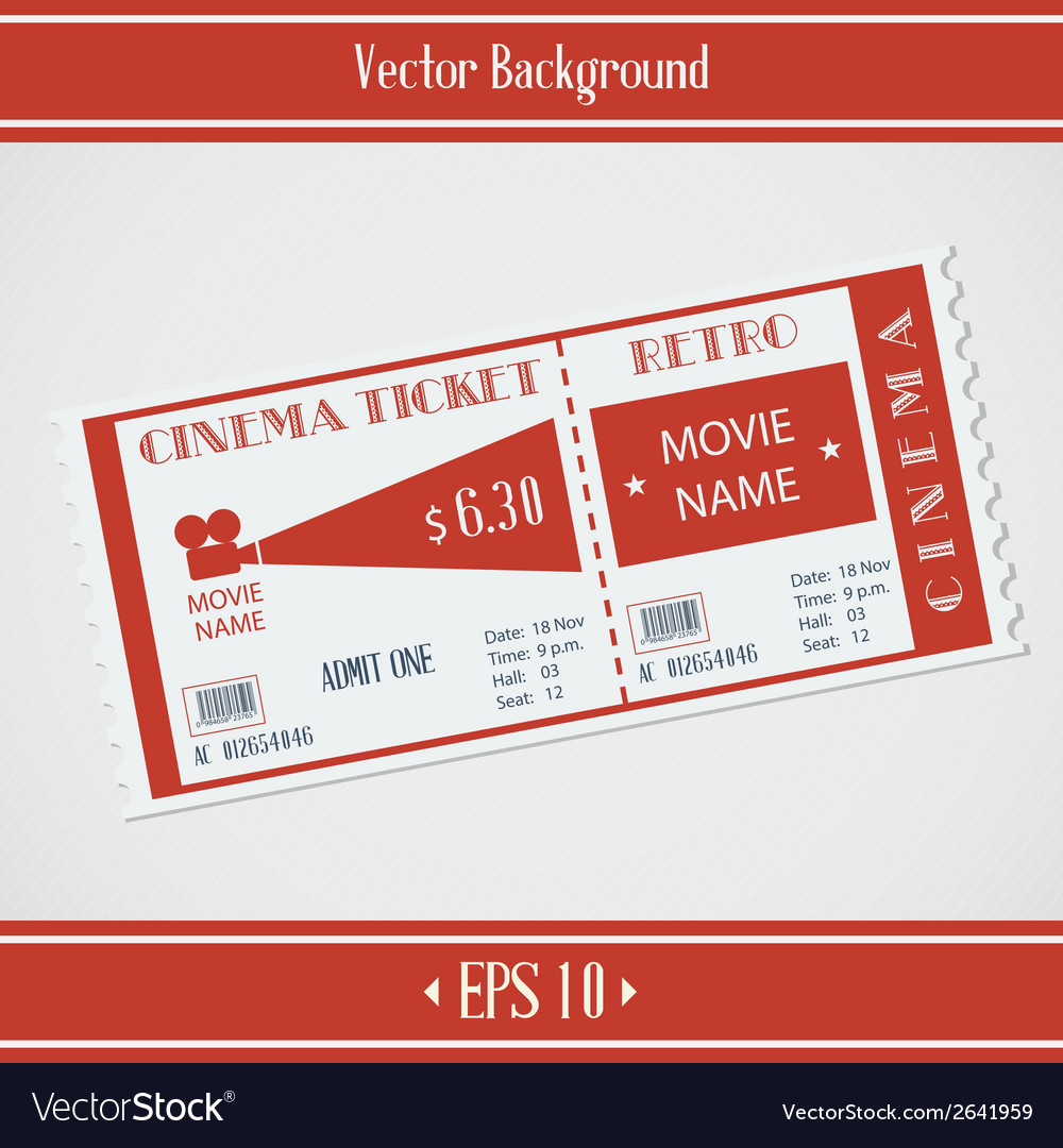 Retro cinema ticket vector | Price: 1 Credit (USD $1)