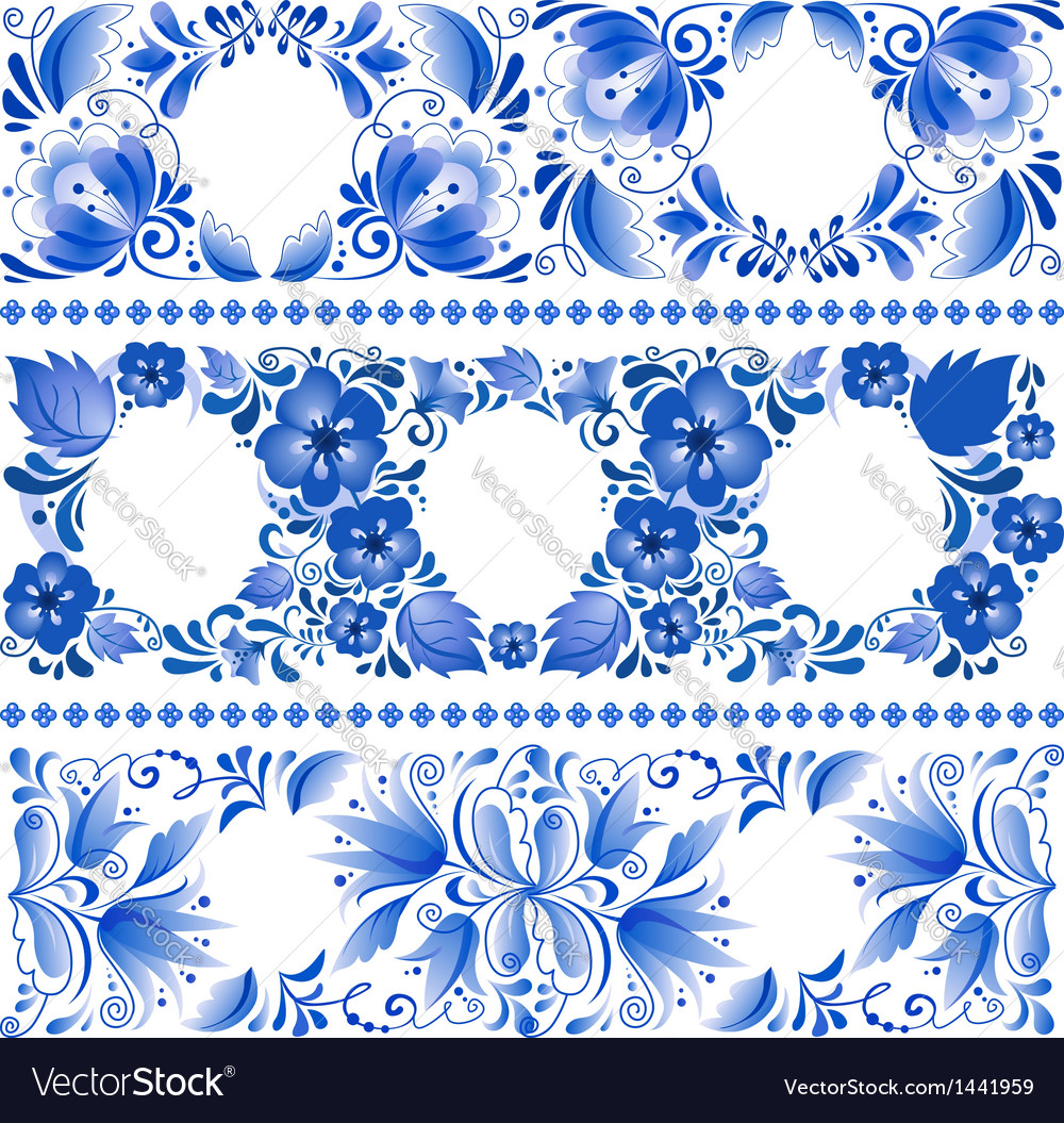 Russian traditional blue ornament in gzhel style vector   Price: 1 Credit (USD $1)