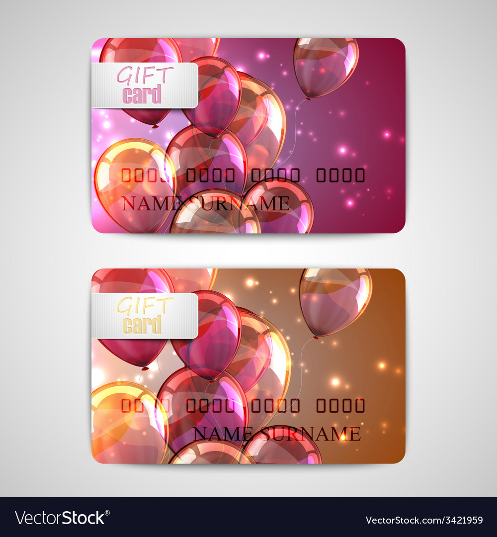 Set of shiny gift cards with flying balloons and vector | Price: 1 Credit (USD $1)