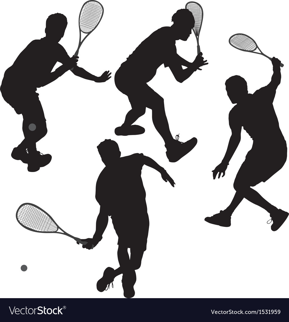Squash players silhouette vector | Price: 1 Credit (USD $1)