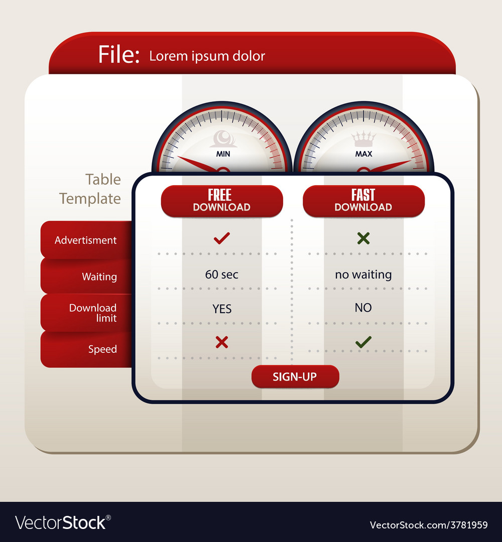 Table template for file sharing websites vector | Price: 1 Credit (USD $1)