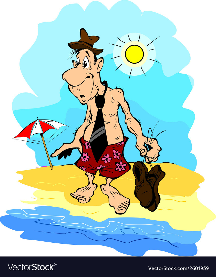 Tired office worker on the beach vector | Price: 1 Credit (USD $1)