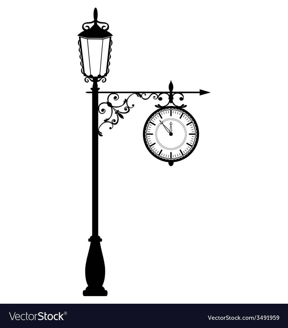 Vintage black lamppost with clock isolated on vector