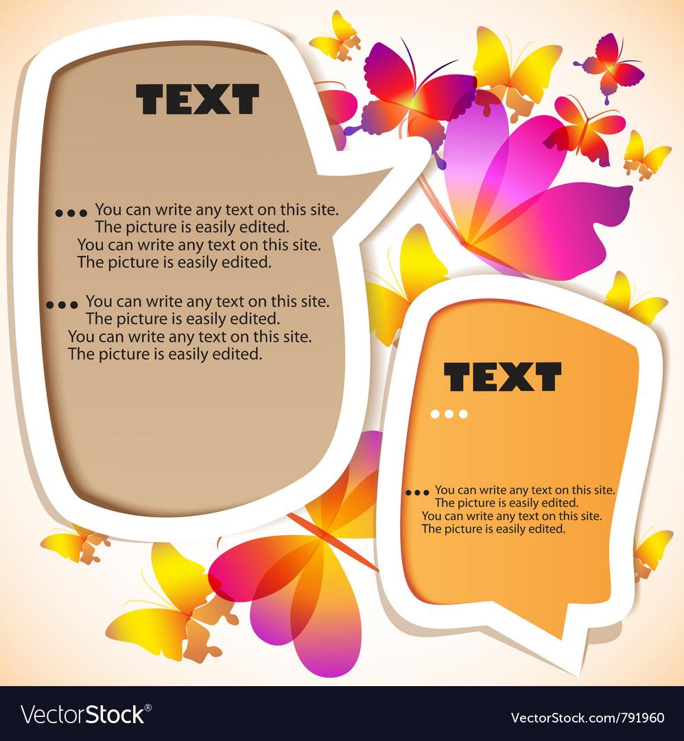 Butterflies speech bubbles vector | Price: 1 Credit (USD $1)