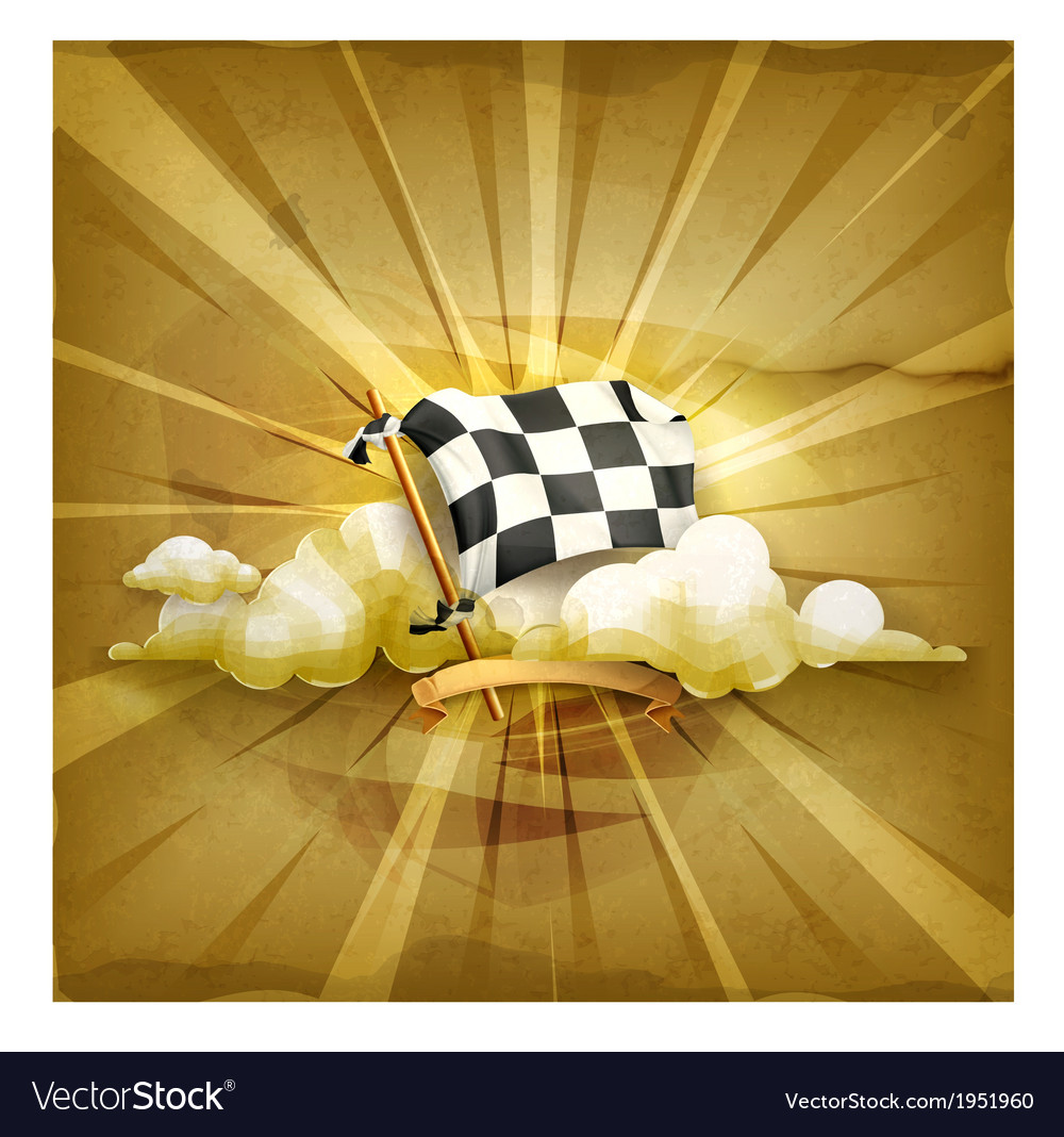 Checkered flag old style background vector | Price: 1 Credit (USD $1)