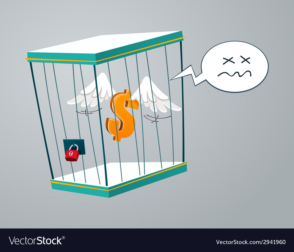 Flying dollar trapped in a cage vector | Price: 1 Credit (USD $1)
