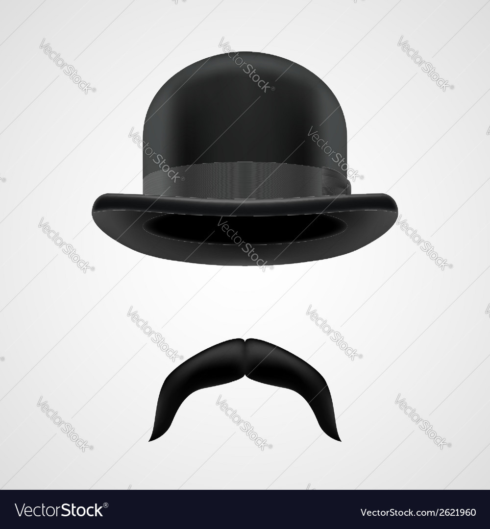 Funny gentleman with moustaches and bowler hat vector | Price: 1 Credit (USD $1)