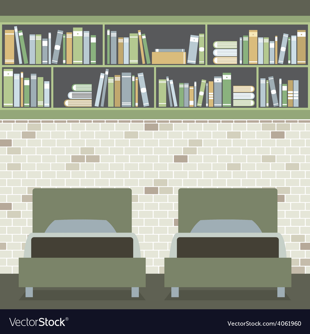 Modern flat design twin bedroom vector | Price: 1 Credit (USD $1)