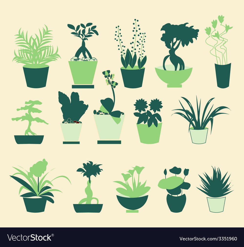 Plant silhouette collection - vector | Price: 1 Credit (USD $1)