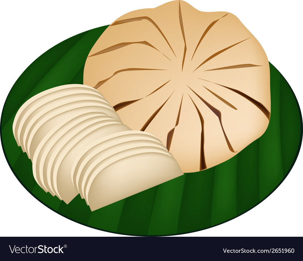 Sweet ripe santol fruit on green banana leaf vector | Price: 1 Credit (USD $1)