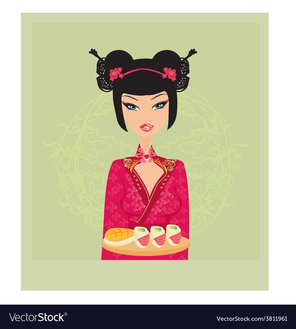 Beautiful woman enjoys sushi card vector | Price: 1 Credit (USD $1)