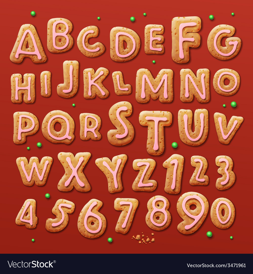 Christmas gingerbread cookies alphabet and numbers vector