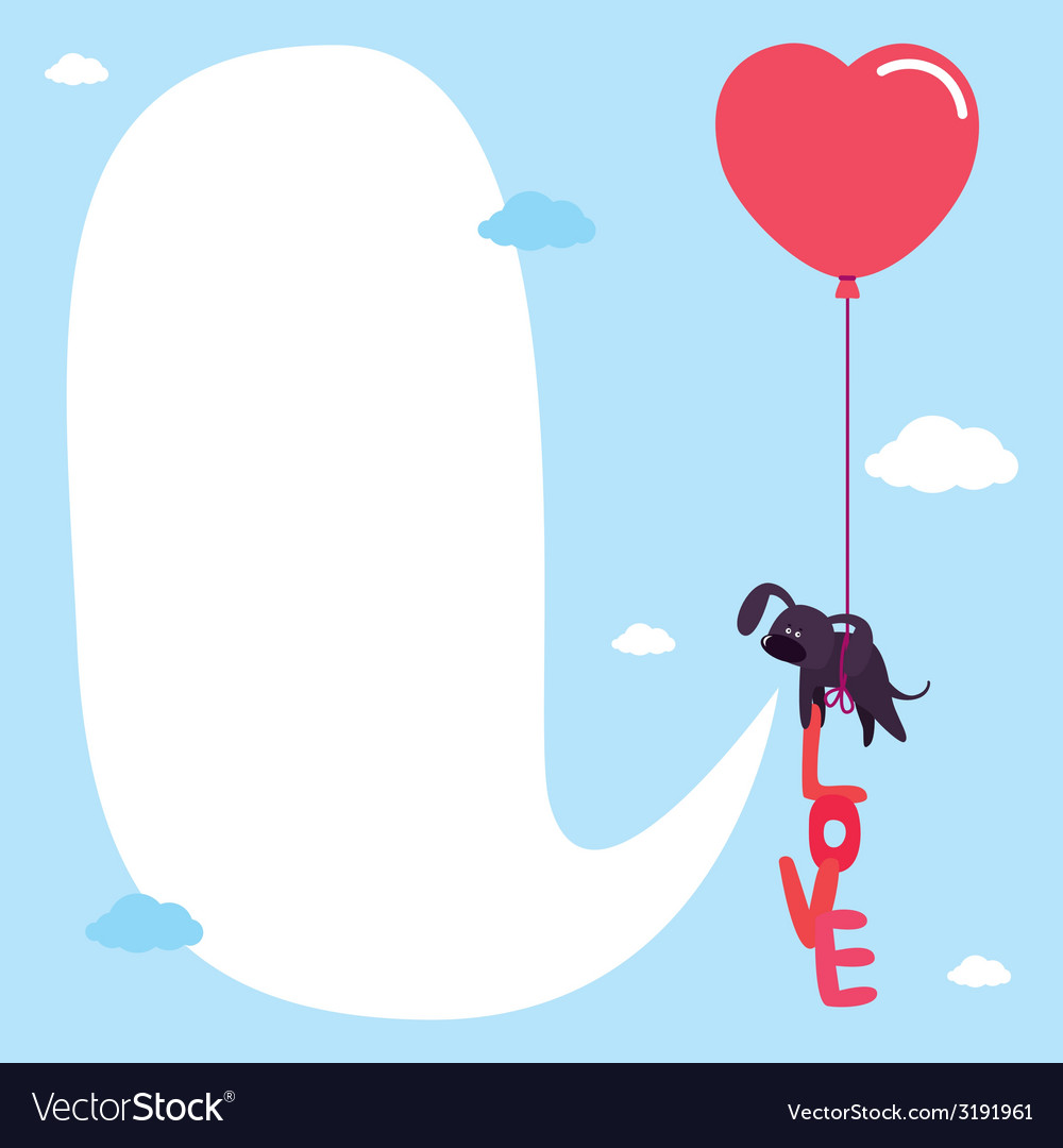 Cute card with dog on balloon vector | Price: 1 Credit (USD $1)