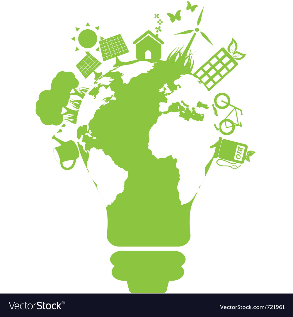 Eco light bulb world vector | Price: 1 Credit (USD $1)