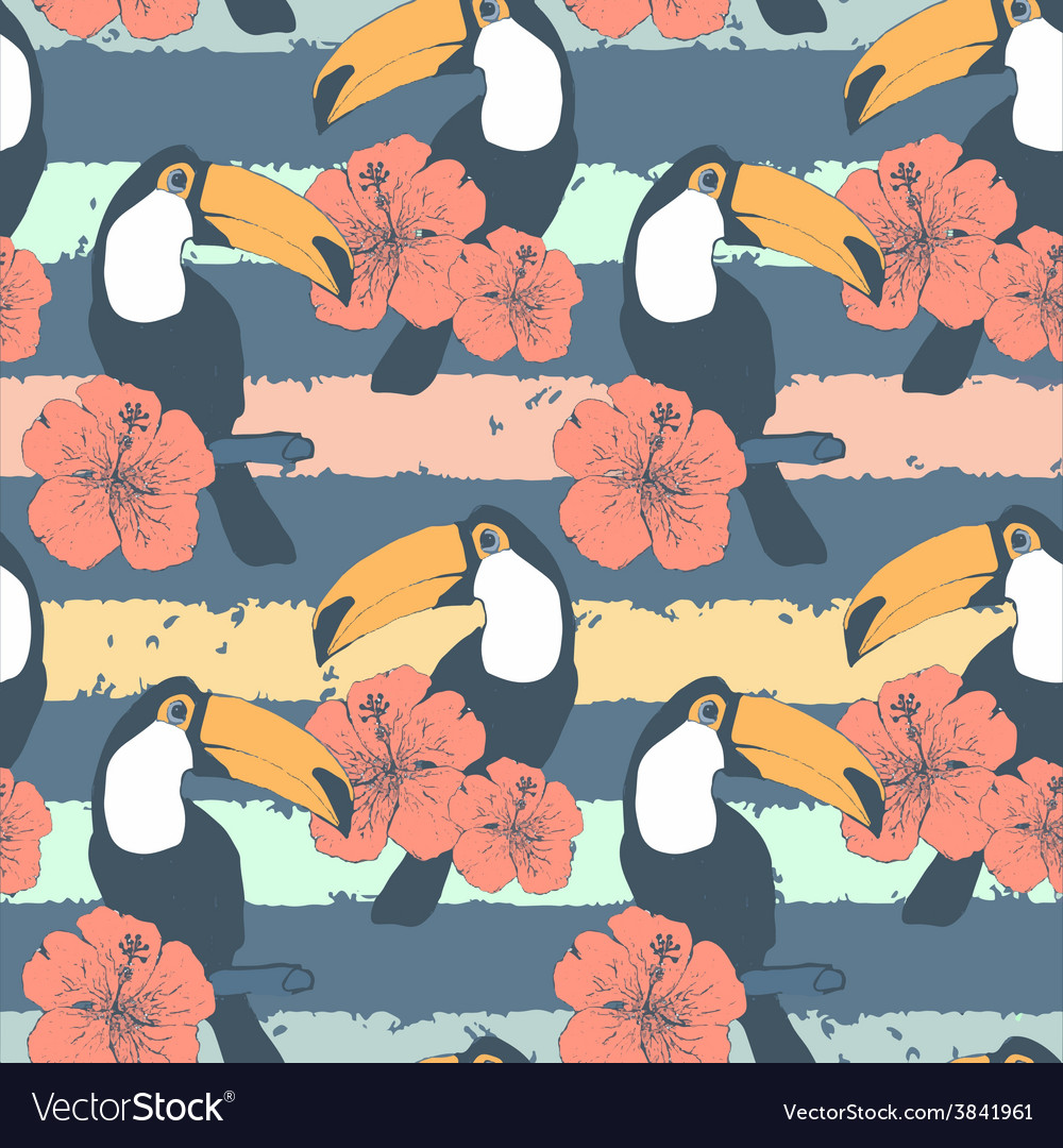 Hand drawn seamless vintage pattern with toucans vector | Price: 1 Credit (USD $1)