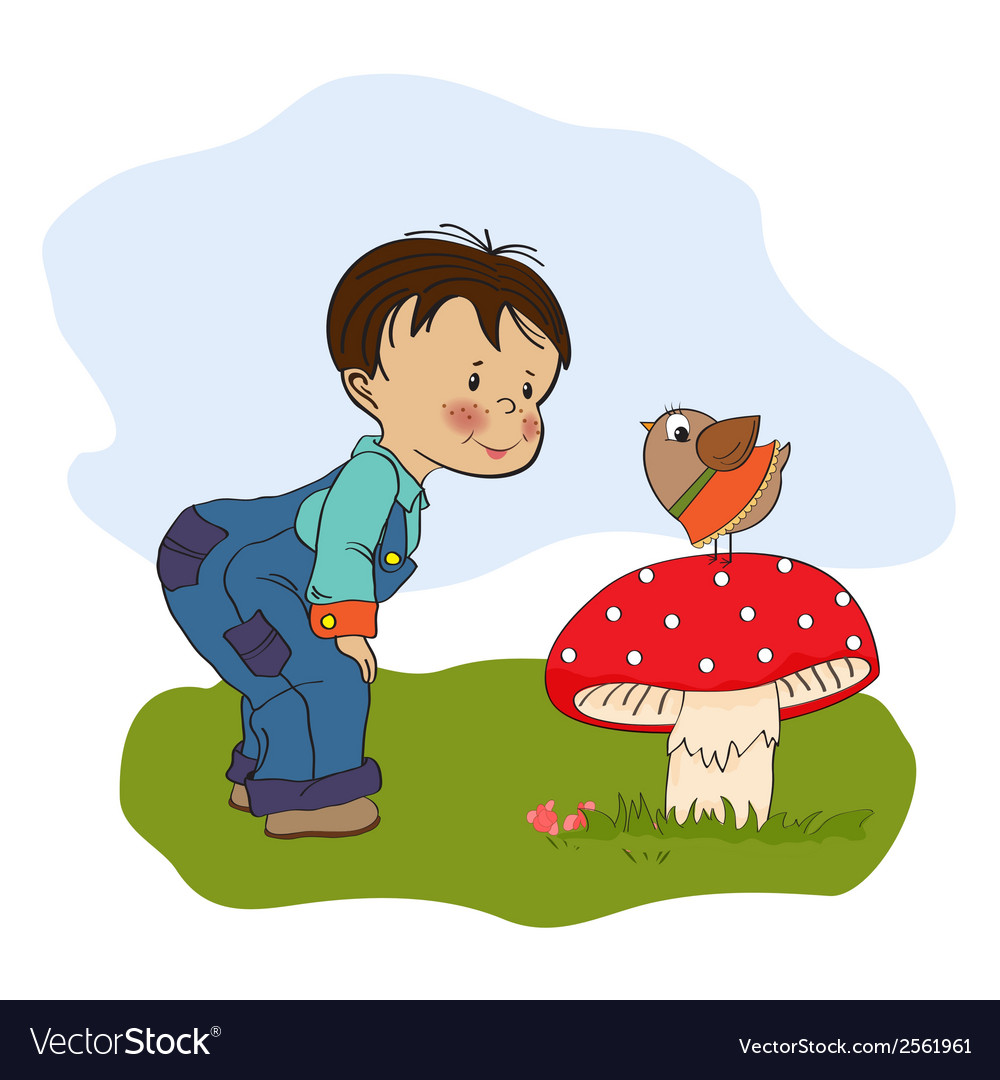Little boy talk with funny bird vector | Price: 1 Credit (USD $1)
