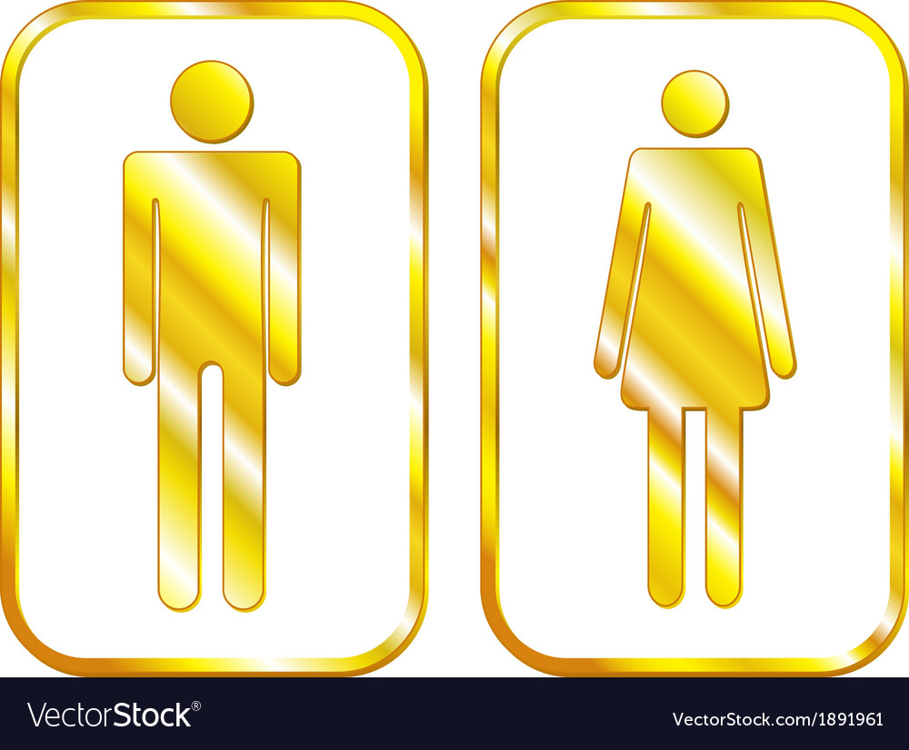 Man and woman restroom golden signs vector   Price: 1 Credit (USD $1)