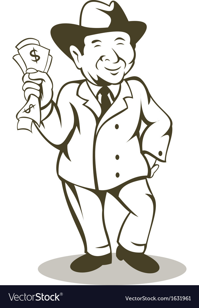 Man in business suit and hat with money vector | Price: 1 Credit (USD $1)