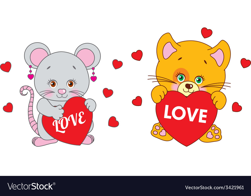 Mouse and cat holding a heart characters vector | Price: 1 Credit (USD $1)