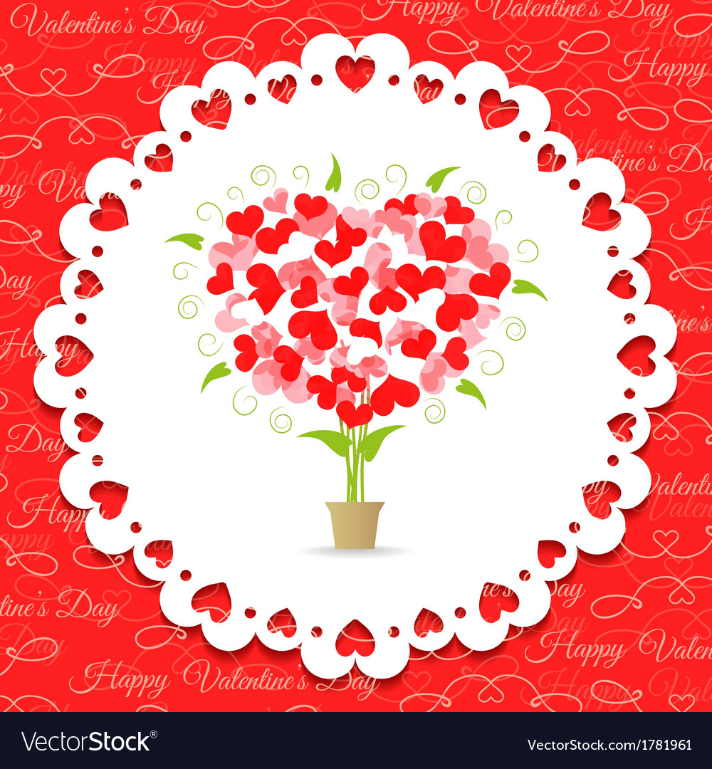 Postcard happy valentines abstract tree of hearts vector | Price: 1 Credit (USD $1)