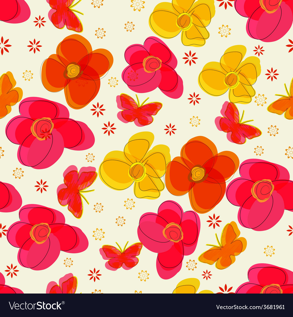 Simple seamless pattern with flowers and vector | Price: 1 Credit (USD $1)