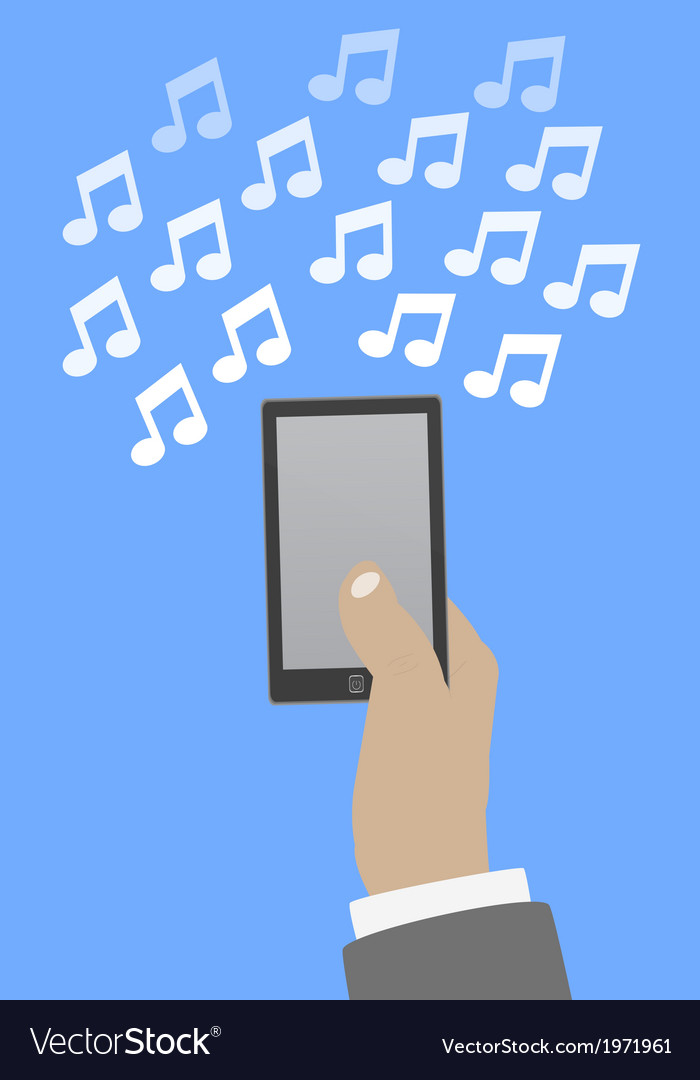 Smartphone in hand music vector | Price: 1 Credit (USD $1)